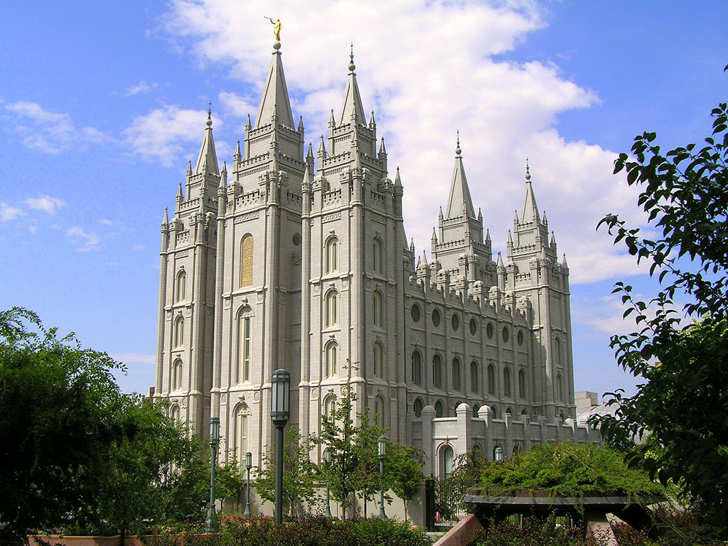 Pictured: A Mormon temple in Salt Lake City, Utah.